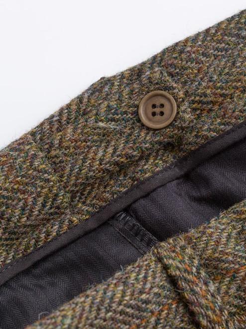 Close Up of Bracken Brown Harris Tweed 2 Piece Suit Trousers Waistband
