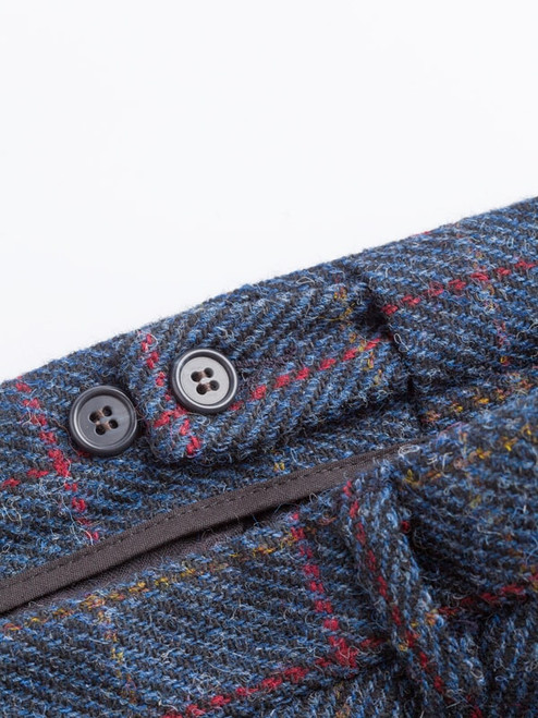 Close Up of Slate Blue Harris Tweed 2 Piece Suit Trousers Waistband