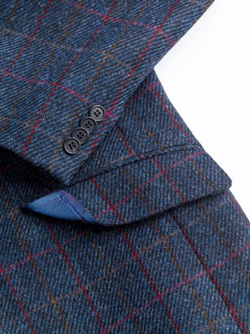 Close Up of Slate Blue Harris Tweed 3 Piece Suit Fabric