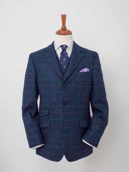 Image of Slate Blue Harris Tweed 3 Piece Suit Jacket