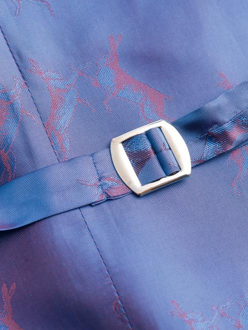 Close Up of Slate Blue Harris Tweed 3 Piece Suit Waistcoat Lining