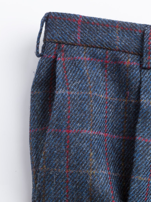 Close Up of Slate Blue Harris Tweed 3 Piece Suit Trousers