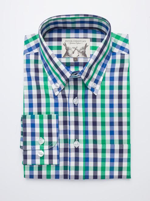 Button Down Green & Blue Ensign Check Long Sleeve Shirt