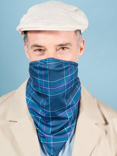 Model Wearing Blue Tartan Face Mask