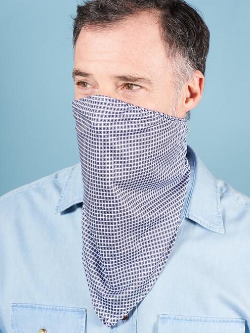 Model Wearing Blue Box Face Mask