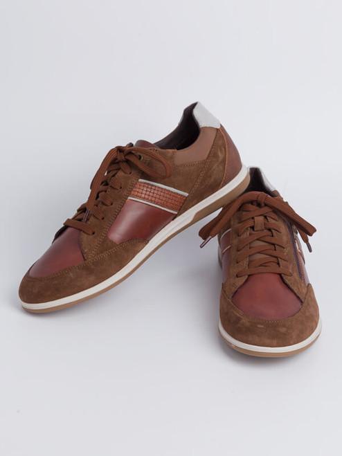 Image of Mens Brown Geox Renan Zip & Lace Trainer