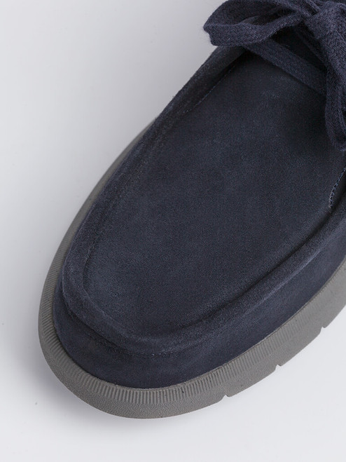 Close Up of Mens Navy Geox Errico Suede Shoe Fabric