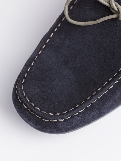 Close Up of Navy Blue Geox Tivoli Moccasin Shoe Suede