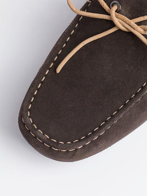 Close Up of Mens Brown Geox Tivoli Moccasin Shoe Fabric