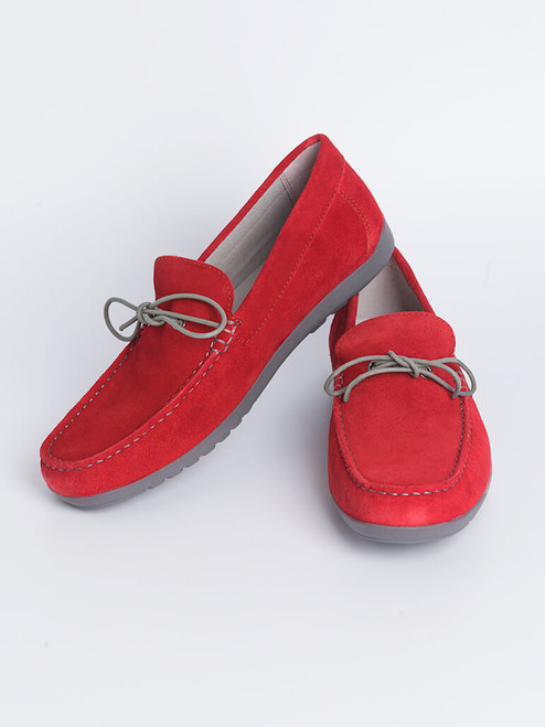 Image of Mens Red Geox Tivoli Moccasin Shoe