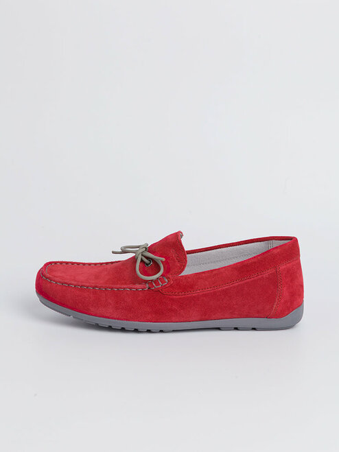 Close Up of Mens Red Geox Tivoli Moccasin Shoe