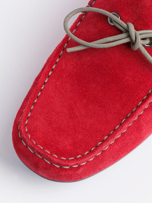 Close Up of Mens Red Geox Tivoli Moccasin Shoe Fabric