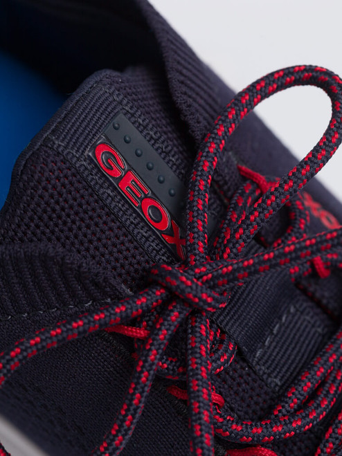 Close Up of Mens Navy Geox Spherica Trainer Laces