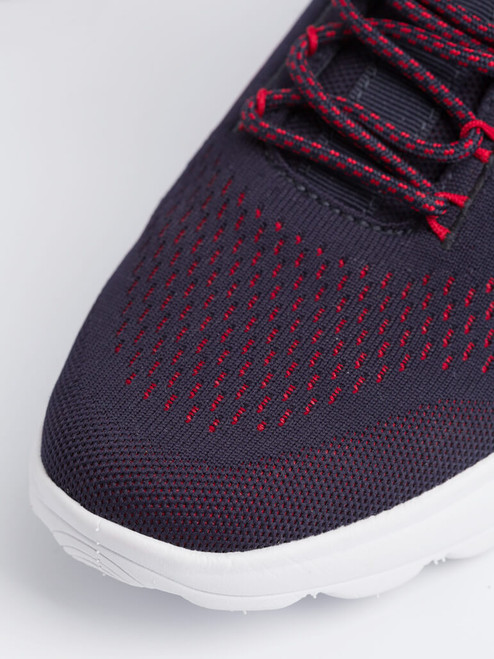 Close Up of Mens Navy Geox Spherica Trainer Fabric