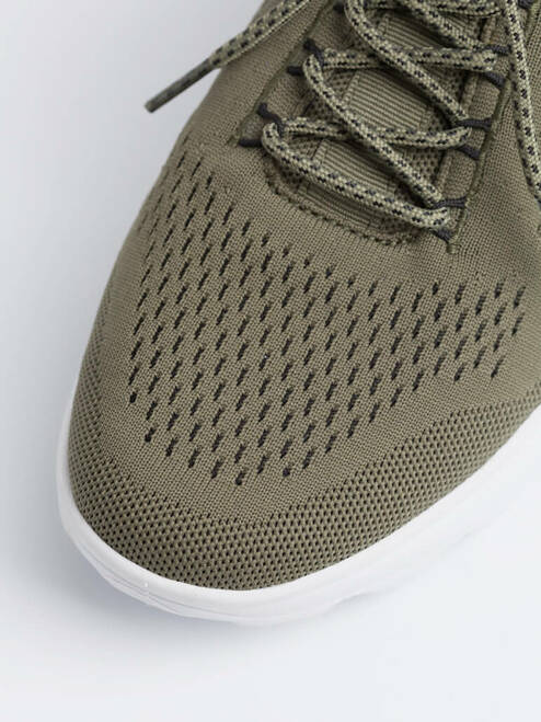 Close Up of Mens Olive Green Geox Spherica Trainer Fabric