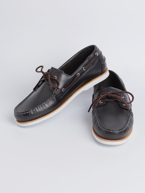Image of Mens Navy Leather Boat Shoe