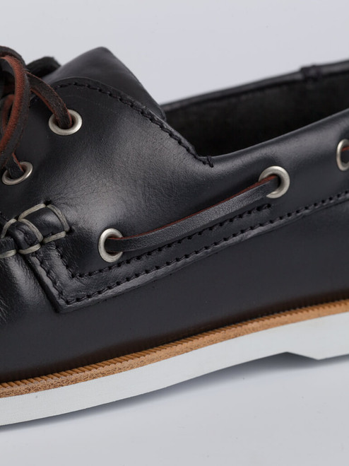 Close Up of Mens Navy Leather Boat Shoe Details
