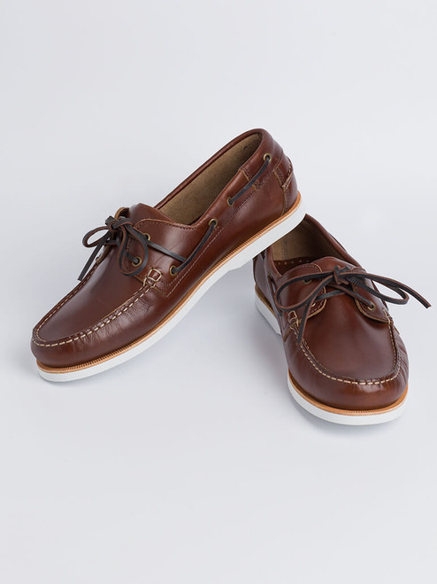 Image of Mens Brown Leather Boat Shoe