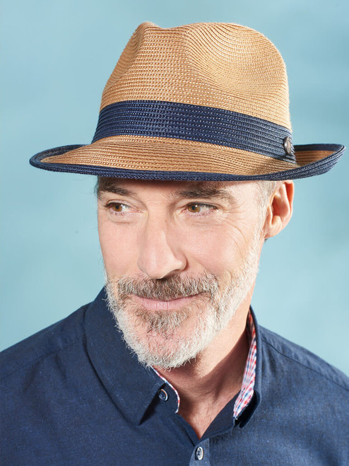 Model Wearing Blue Two Tone Braid Hat