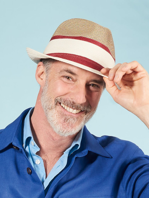 Model Wearing Wine Red Two Tone Braid Hat