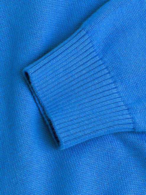 Close Up of Blue Cotton V-Neck Pullover