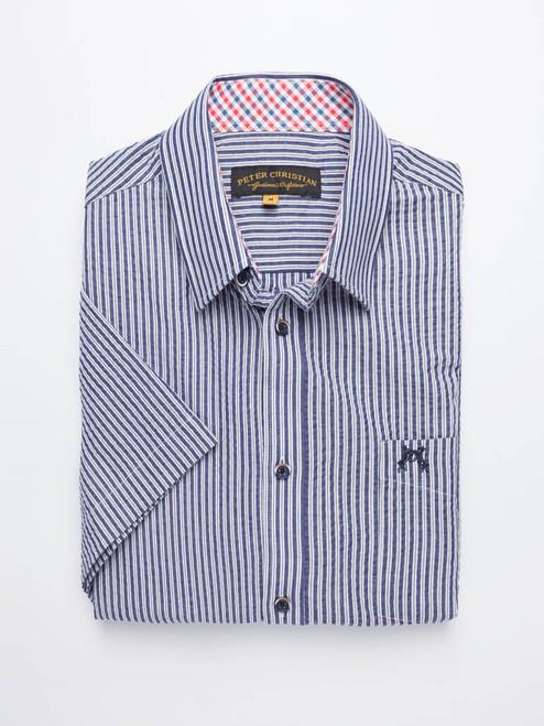 Folded Image of Stripe Seersucker Half Sleeve Shirt