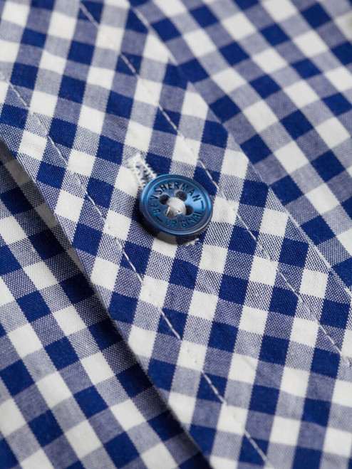 Close Up of Blue Ben Sherman Short Sleeve Gingham Shirt Fabric