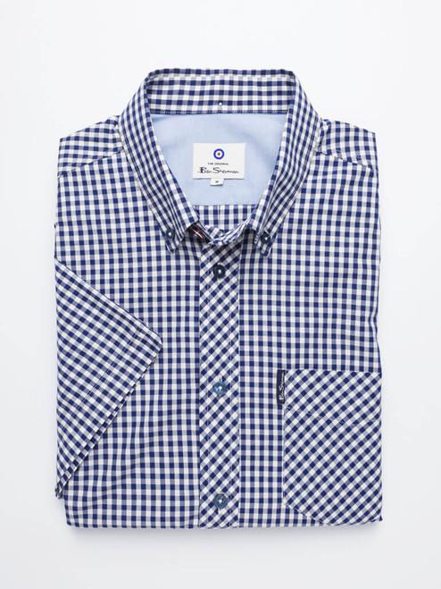 Folded Image of Blue Ben Sherman Short Sleeve Gingham Shirt