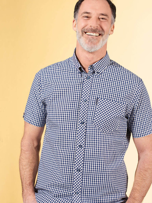 Image of Blue Ben Sherman Short Sleeve Gingham Shirt