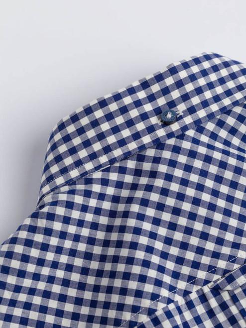 Close Up of Blue Ben Sherman Short Sleeve Gingham Shirt Collar