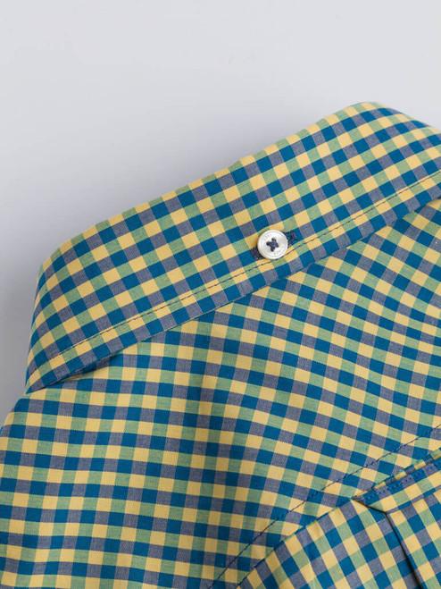 Close Up of Yellow & Green Ben Sherman Short Sleeve Gingham Shirt Collar