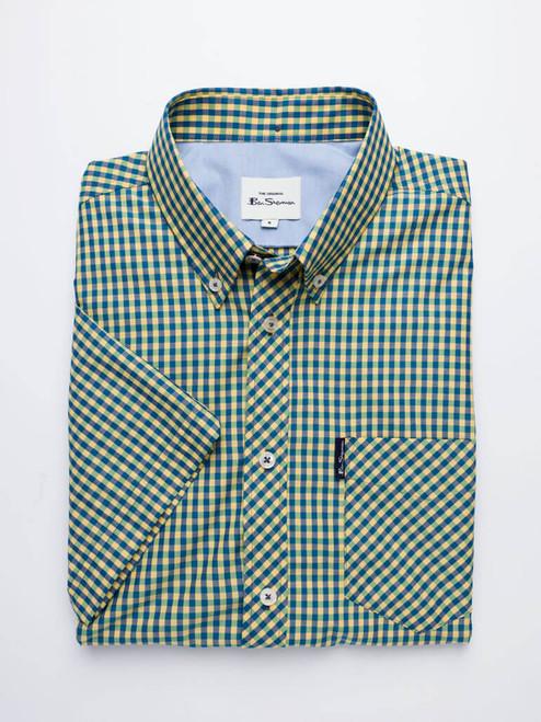 Folded Image of Yellow & Green Ben Sherman Short Sleeve Gingham Shirt