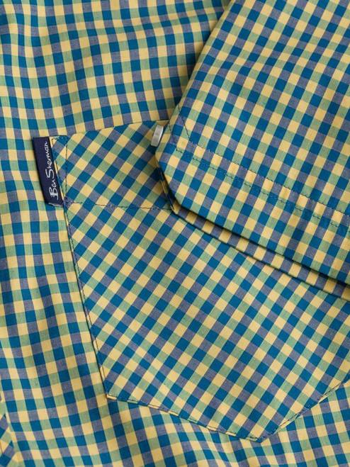 Close Up of Yellow & Green Ben Sherman Short Sleeve Gingham Shirt Details