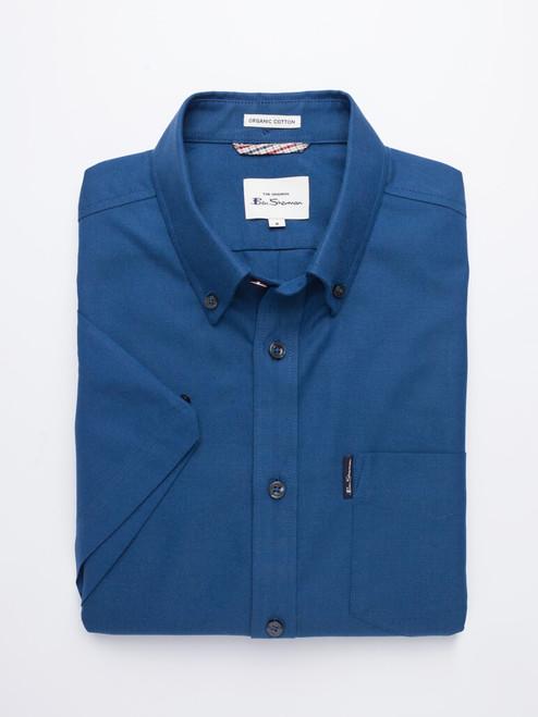 Folded Image of Azure Blue Ben Sherman Organic Short Sleeve Oxford Shirt