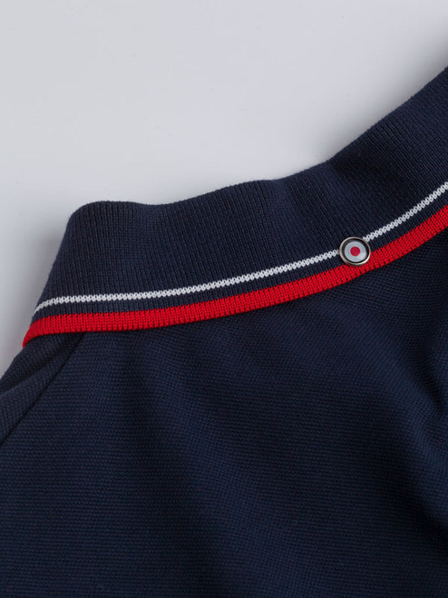 Close Up of Navy Blue Ben Sherman Organic Cotton Polo Collar
