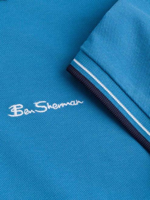 Close Up of Blue Ben Sherman Organic Cotton Polo Logo