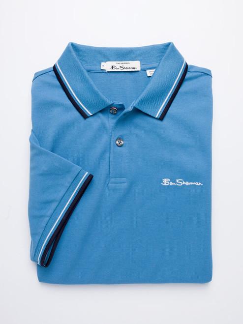 Folded Image of Blue Ben Sherman Organic Cotton Polo