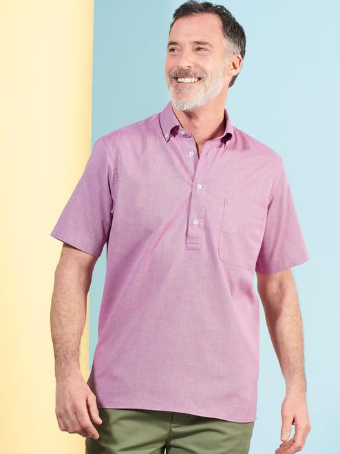 Model Wearing Burgundy Short Sleeve Popover Shirt