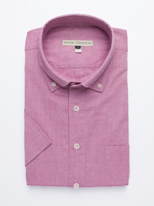 Image of Burgundy Short Sleeve Popover Shirt
