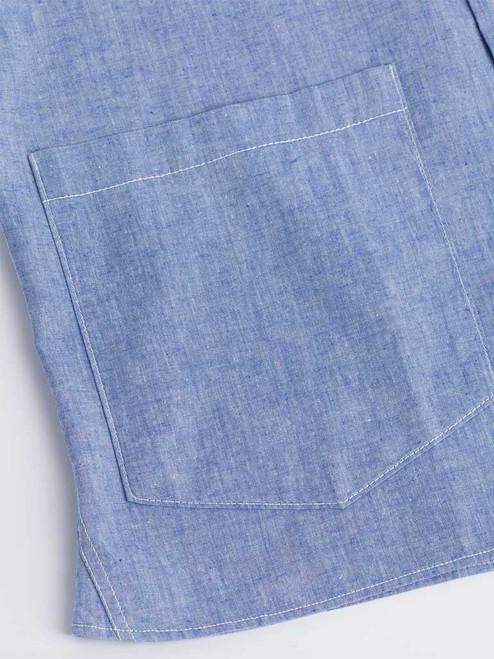 Close Up of Blue Cotton and Linen Bermuda Shirt Pocket