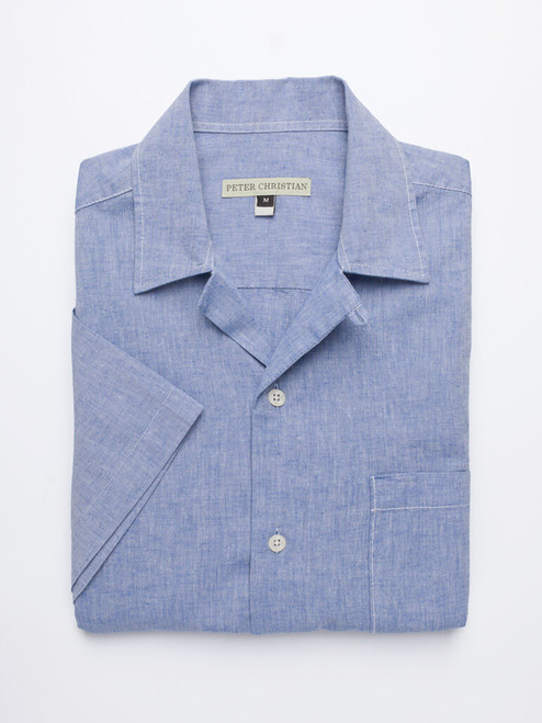 Image of Blue Cotton and Linen Bermuda Shirt