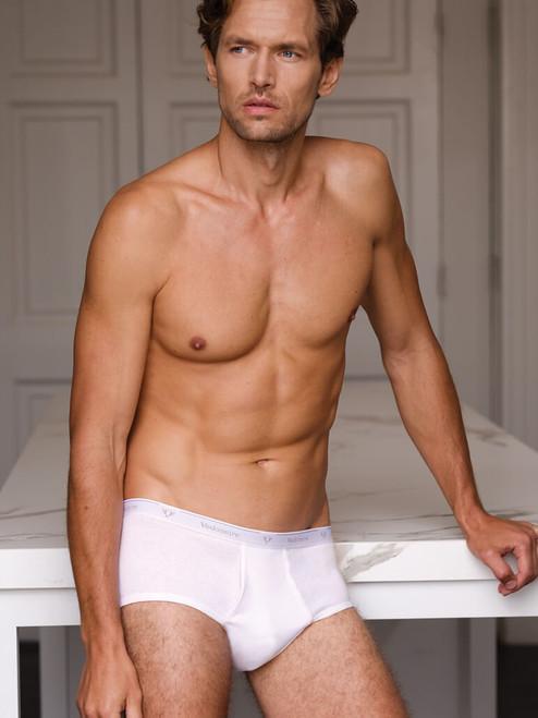 Model Wearing White Vedoneire Cotton Rib Briefs