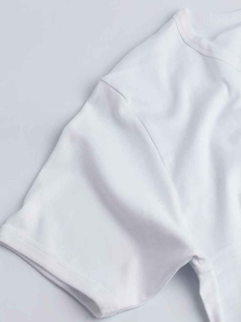 Close Up of White Vedoneire Interlock Cotton T-shirt Fabric