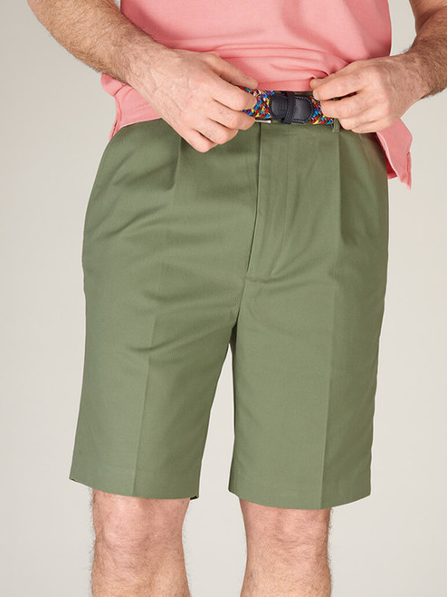 Model Wearing Mens Green Cotton Tailored Shorts