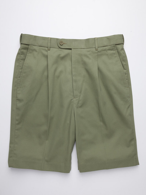 Image of Mens Green Cotton Tailored Shorts