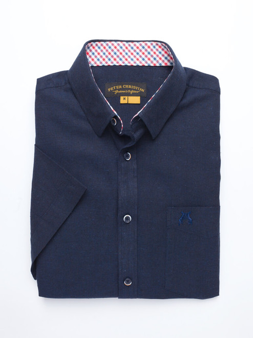 Folded Image of Navy Blue Short Sleeve Linen and Cotton Shirt