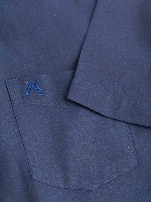 Close Up of Navy Blue Short Sleeve Linen and Cotton Shirt Fabric