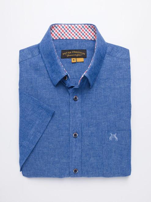 Folded Image of Cobalt Blue Short Sleeve Linen and Cotton Shirt