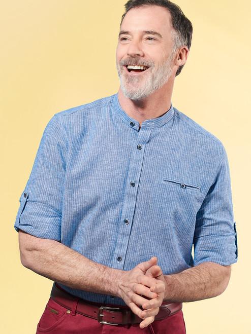 Image of Denim Blue Linen & Cotton Grandad Shirt