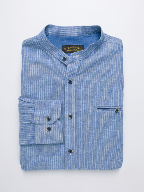 Folded Image of Denim Blue Linen & Cotton Grandad Shirt